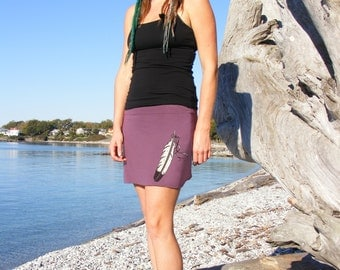 Purple Mini Skirt with Feather Great Yoga Clothes on Bamboo Cotton Mix Original Artist Print