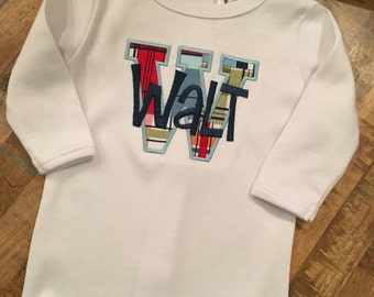 Initial appliqué with name one-piece