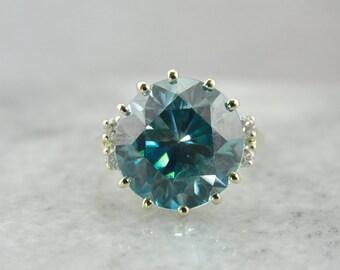 Blue and Green, Blue Zircon Morgan Ring in Modern Green Gold  YZJ2RL-N