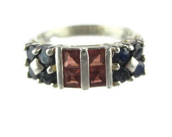 Vintage Orange and Blue Sapphire Sterling Silver 925  Ring Size 7