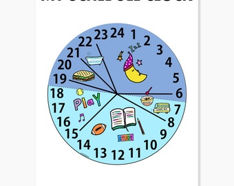 Kids Schedule Clock Planner Printable