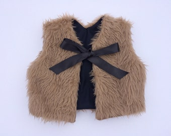 Sale! Toddler-Baby, Brown faux fur vest. Made to Order