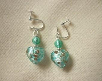 Turquoise Murano Glass Heart Earrings - for non pierced ears