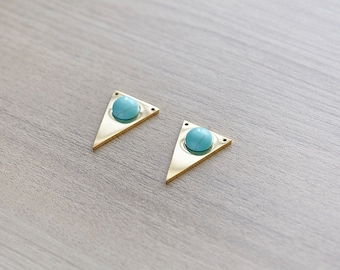 1 pcs of blue turquoise stainless steel triangle gold plated pendant