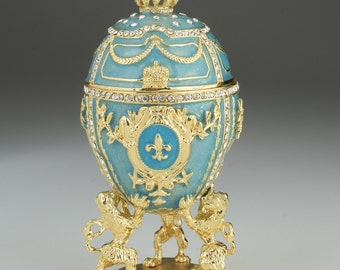 Royal Blue Egg Trinket Box by Keren Kopal Faberge Swarovski Crystal