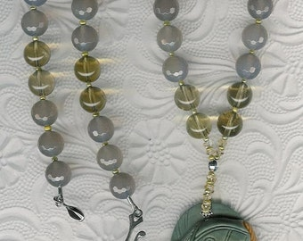 Sir Reel - Succor Creek Jasper Pendant, Gray Agate, Quartz, Citrine, Freshwater Pearls, Sterling Silver Necklace