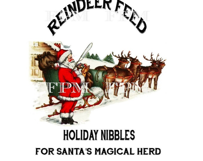 Vintage Digital Reindeer, Christmas Pillow Transfer Image, Santa, reindeer, Instant Download Xmas Graphic