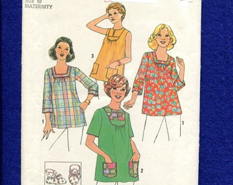 1970's Simplicity 8089 Maternity Tops with Neckline Options Size 10 UNCUT