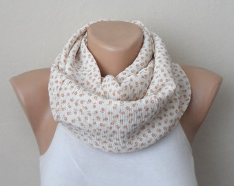 gossamer cream orange followering infinity scarf  cotton fabric loop scarf