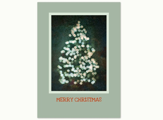 "Merry Christmas Card. Christmas Tree. Bokeh Photography. Flat, 5""x7"". Print by OneFrameStories."