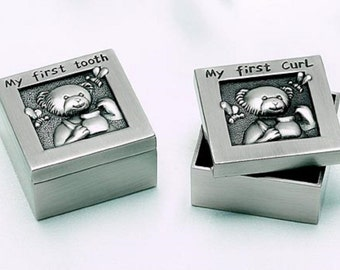 Personalized Baby Gift First Tooth and First Curl Keepsake Set in Pewter Finish