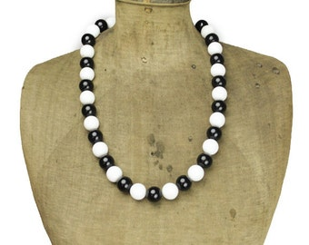 Long White Bead and Black Bead Necklace, Black and White Beaded Necklace, Black and White Bead Necklace, Black and White Necklace
