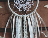 Small dream catcher with ivory lace & vintage table mat.