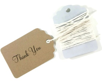 Kraft Thank You Tags Set of 20 - Merchandise Tags - Price Tags - Brown Thank You Favors - Cursive Thank You Tags - Wedding Favor Ideas