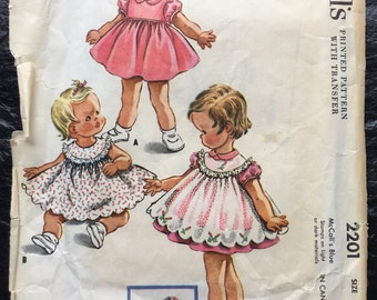 Vintage 1950s Girls', Toddlers' Dress and Pinafore Pattern // McCall's 2201, size 6 Months > full skirt > 1957