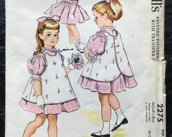 Vintage 1950s Girls', Child's Dress and Pinafore Pattern // McCall's 2275, size 4 > full skirt > 1958