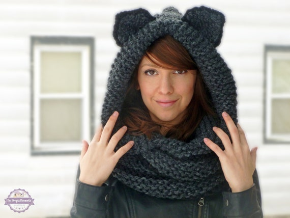 Animal Cowl Knitting Pattern : Hooded Cat Cowl Knit Cat Ears Scarf Cat Cowl Animal Cowl