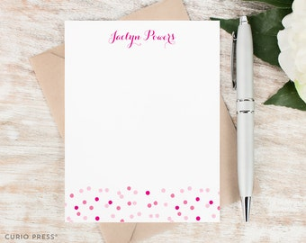 Personalized Stationery Set / Personalized Stationary Note Cards / Boxed Notecard Set / Polka Dot Notes / Monogram Cards // CONFETTI