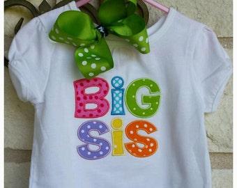Girl's Big Sis applique shirt with name