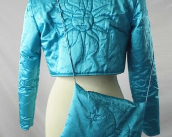 Vintage 1950s Jacket & Bag Quilted Cropped Bolero Shrug Padded Quirky 50s Rockabilly Retro Handmade OOAK