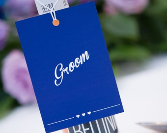 Navy Blue wedding place card tag