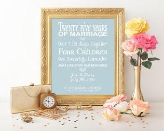 25th anniversary gift - personalised anniversary print- anniversary present- typographic 25th anniversary- anniversary milestones