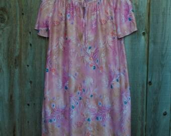 1970s Plus Size Vintage Pink Floral Mumu Dress
