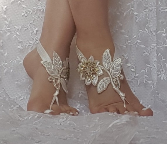 free ship bridal anklet, ivory gold flower lace anklet, Beach wedding barefoot sandals, bangle, wedding anklet, anklet, flower foot sandal
