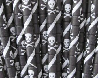 25 Bendable  Skull & Crossbone  Pirate Straws, Pirate Parties, Pixie Sticks
