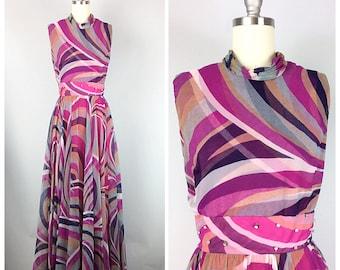 60s Jack Bryan Pink and Purple Psychedelic Print Maxi Dress - 1960s Vintage Chiffon Rhinestone Embellished Party Dress - Medium  - Size 6