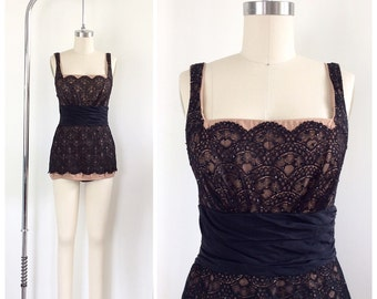 50s Rose Marie Reid Lace Illusion Swimsuit / 1950s Vintage Bombshell VLV Scalloped One Piece Bathing Suit / Small / Size 4