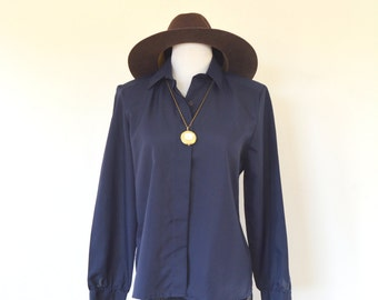 Navy Button Up Blouse