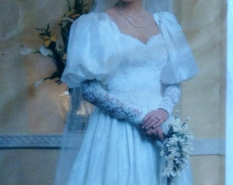 Vintage Vogue 1340, Formal Bridal Dress Uncut Sewing Pattern, Bridesmaids or Wedding 1980's Style