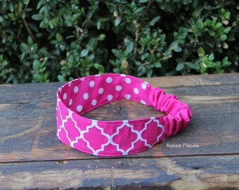 Reversible Fabric Headband, Reversible Headband, Girls Headband, Ladies Headband, Cotton Headband, Birthday Gift, Baby Shower Gift