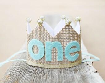 1st Birthday Burlap Crown - Girls Boys Small First Birthday Crown - Cake Smash