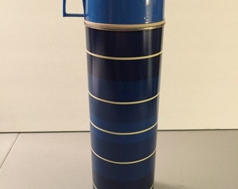 SALE! Vintage 1970s King Seeley Co. Thermos,  Large Size Blue and White Striped Thermos