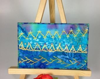 Fabric Postcard - Blue Crazy Quilt Postcard, Hand Embroidered Postcard, Fiber Art Postcard, Quilted Postcard, Modern Embroidery Art