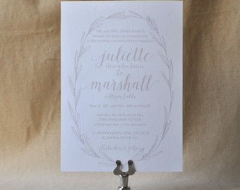 Boho Garden Wedding invitation, Wedding Invitation, Lavendar Wreath Invitation, Neutral Wedding