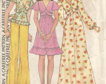 4028 McCalls Sewing Pattern Pullover Dress & Top Size 8 Vintage 1970s