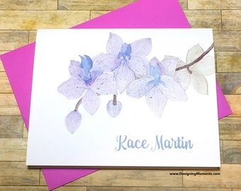 Watercolor Orchid Personalized Stationery - Custom Orchid Flower Note Cards - Delicate Orchid Stationary - Thank You Cards DM178