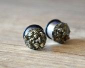 pyrite plugs pyrite earplugs gemstone plugs stones ear tunnel grey Stone plugs tunnels gemstone plugs natural plugs wedding plugs girly plug