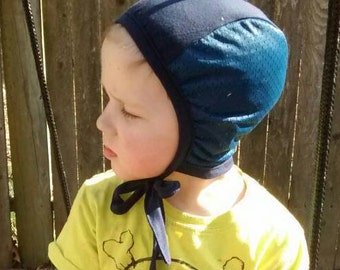 Custom Navy Blue with Navy Mesh Hearing Aid Cap for those with hearing aids/ cochlear implants