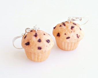 Chocolate Chip Cupcakes Earrings, Cupcake Charms, Cupcake Hooks, Cupcake Jewelry, Food Charms, Miniature Food Jewelry