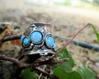 NEW Autumn Collection, Handcrafted 925 Sterling Silver Ring, Blue Opals Ring, Unique Design by Porans, made in Israel