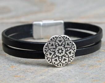 Double 5MM Black Leather Floral Bracelet, Western Jewelry, Leather Jewelry, Magnetic Jewelry, Floral Jewelry
