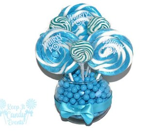 Small Light Blue Lollipop Centerpiece, Wedding Centerpiece, Blue Candy Buffet Centerpiece, Blue Wedding Decoration, Baby Shower Centerpiece
