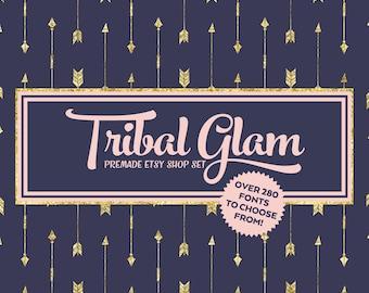 Etsy Cover Photo - Etsy Banner - Etsy Shop Set - Tribal Glam - Gold Glitter Arrow Peach Navy