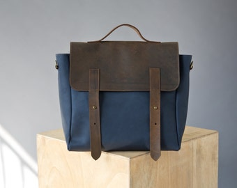 Leather Backpack, Leather satchel women, Blue bag, Leather Messenger bag, Leather shoulder bag, Rucksack backpack, Messenger bag woman