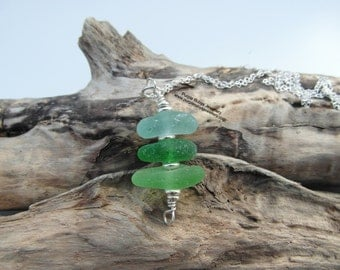 Cornish Sea Glass Stack Necklace ~ Cornwall ~ Sterling Silver