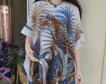 Leopard Print Caftan, Beach Coverup, Womens Animal Print Kaftan,